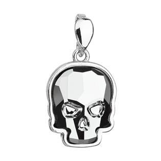 Stříbrný přívěšek lebka s kamenem Crystals from Swarovski® Light Chrome