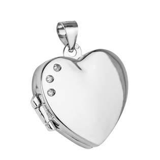 Stříbrný přívěšek otevírací - medajlon srdce