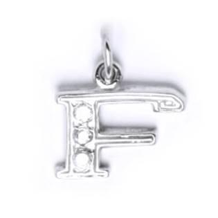 Stříbrný přívěšek písmeno se zirkony - iniciála F