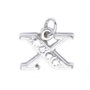 Stříbrný přívěšek písmeno se zirkony - iniciála X