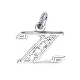 Stříbrný přívěšek písmeno se zirkony - iniciála Z