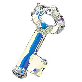 Stříbrný přívěsek s krystaly ab efekt klíč