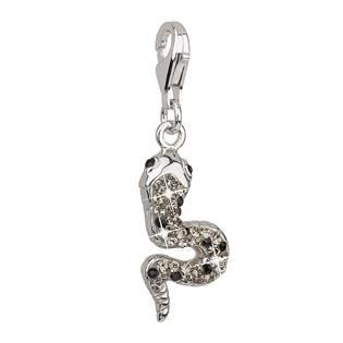 Stříbrný přívěsek s krystaly šedý had