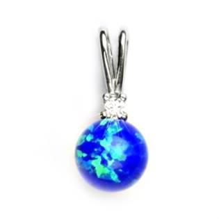 Stříbrný přívěšek s modrým opálem a zirkonem