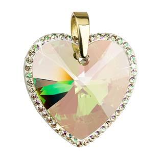Stříbrný přívěšek srdce Crystals from Swarovski® Luminous Green