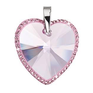 Stříbrný přívěšek srdce Crystals from Swarovski® Rose