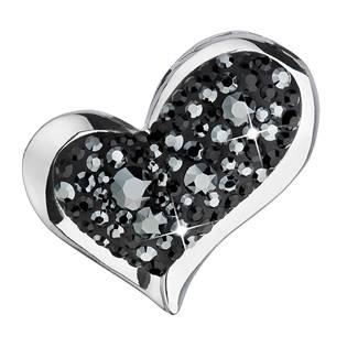 Stříbrný přívěšek srdce s kamínky Crystals from Swarovski® Hematite