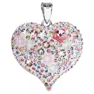 Stříbrný přívěšek srdce s krystaly Crystals from Swarovski®, Magic Rose