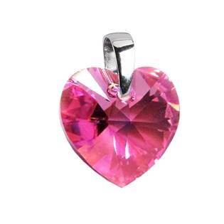 Stříbrný přívěšek srdce z dílny Crystals from Swarovski® Pink