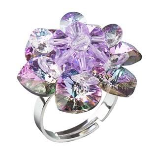 Stříbrný prsten kytička s krystaly Crystals From Swarovski, Ligt Vitrail