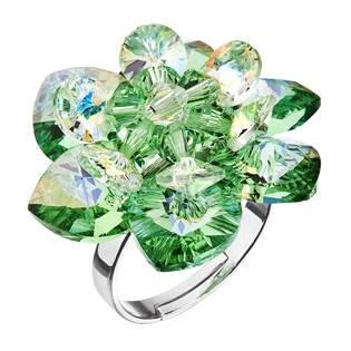 Stříbrný prsten kytička s krystaly Crystals From Swarovski, Peridot
