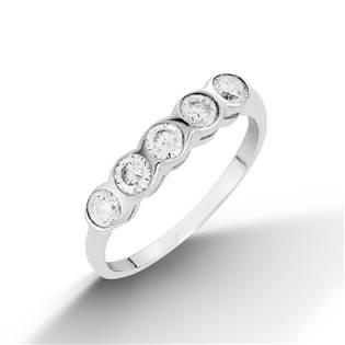 Stříbrný prsten s 5ti zirkony