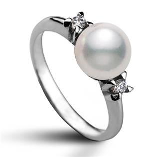 Stříbrný prsten s bílou swarovski perlou 8 mm