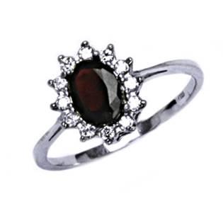 Stříbrný prsten s granátem a zirkony