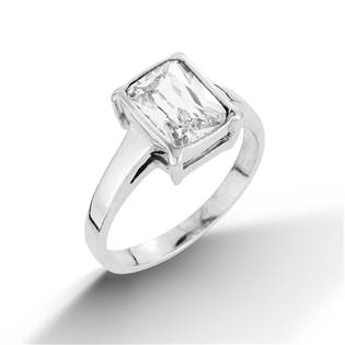 Stříbrný prsten s hranatým zirkonem