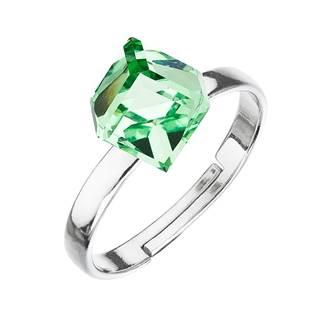 Stříbrný prsten s kostkou Crystals from Swarovski® Peridot