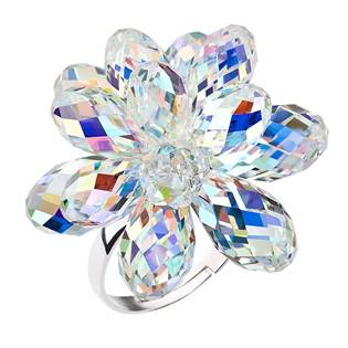 Stříbrný prsten s krystaly Crystals from Swarovski® AB