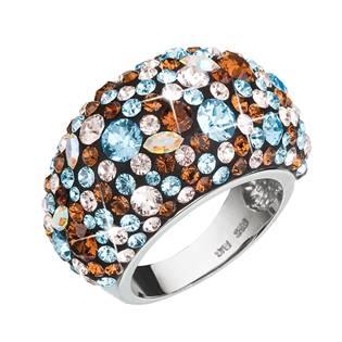 Stříbrný prsten s krystaly Crystals from Swarovski®, Aqua