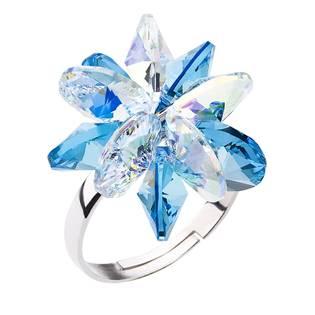 Stříbrný prsten s krystaly Crystals from Swarovski® Aquamarine