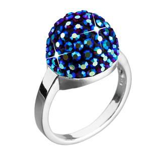 Stříbrný prsten s krystaly Crystals from Swarovski®,  BLUE