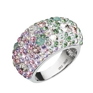 Stříbrný prsten s krystaly Crystals from Swarovski®, Sakura