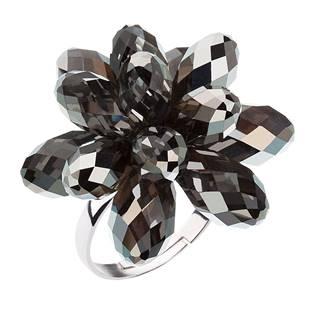 Stříbrný prsten s krystaly Crystals from Swarovski® Silver Night