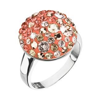 Stříbrný prsten s krystaly Swarovski oranžový, vel: 58