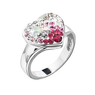 Stříbrný prsten s krystaly Swarovski sweet love srdce, vel: 58