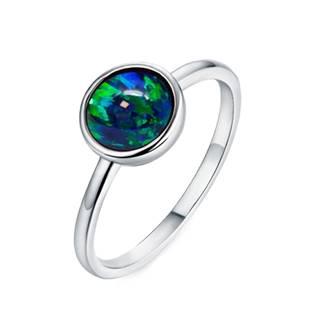 Stříbrný prsten s opálem 8 mm, vel. 52