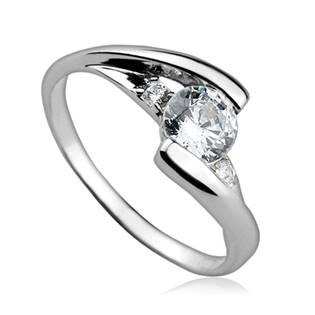 Stříbrný prsten se zirkony, vel. 54