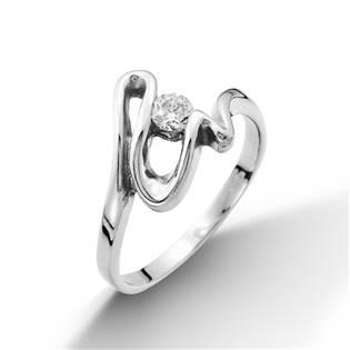 Stříbrný prsten vlnka se zirkonem