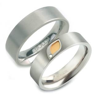 Titanové snubní prsten s diamantem - pár