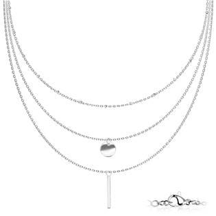 Trojitý ocelový náhrdelník s přívěsky