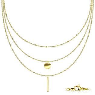Trojitý zlacený ocelový náhrdelník s přívěsky
