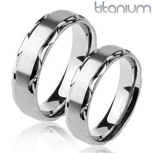 TT1045 Titanové snubní prsteny - pár