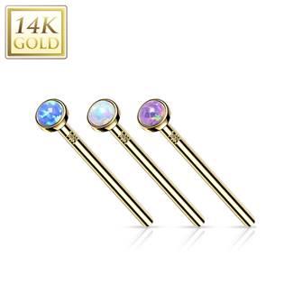 Variabilní zlatý piercing opál, Au 585/1000