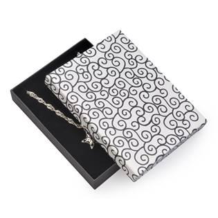 Velká dárková krabička na soupravu šperků - bílá s oranemty