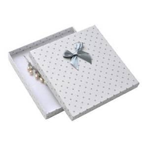 Velká krabička na soupravu šperků bílá, šedé puntíky