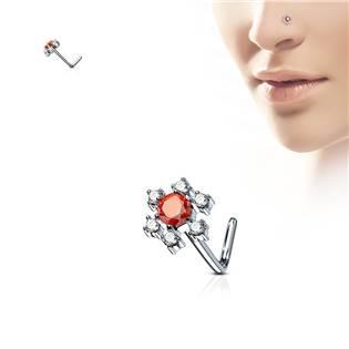 Zahnutý piercing do nosu, červené kamínky