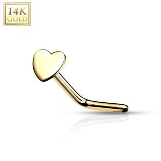 Zahnutý zlatý piercing do nosu - srdíčko, Au 585/1000