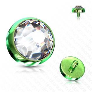 Zelený microdermal piercing - ozdobná část 5 mm