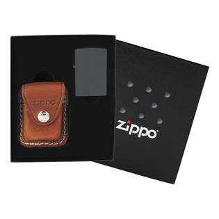 ZIPPO dárková krabička s hnědou koženou kapsičkou na zapalovač