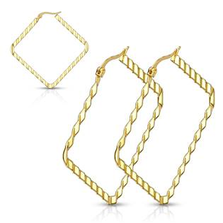 Zlacené ocelové náušnice - čtverce 40 mm