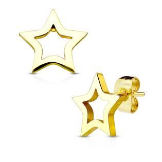 Zlacené ocelové náušnice - hvězdičky