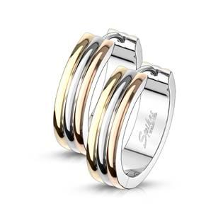 Zlacené ocelové náušnice - kroužky 13 mm