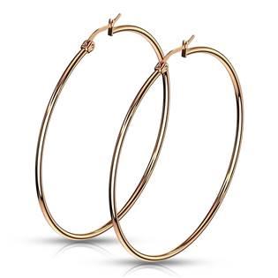Zlacené ocelové náušnice - kruhy 60 mm