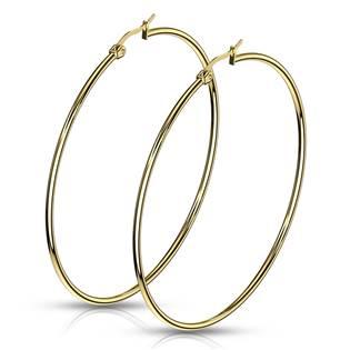 Zlacené ocelové náušnice - kruhy 65 mm