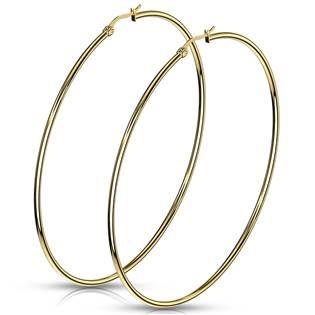 Zlacené ocelové náušnice - kruhy 75 mm