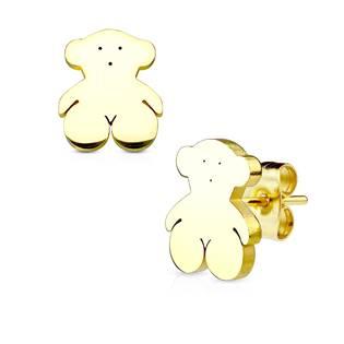 Zlacené ocelové náušnice - medvídci