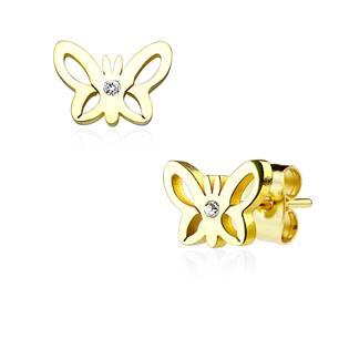 Zlacené ocelové náušnice - motýlci
